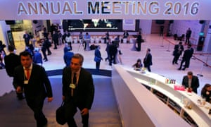Dark suits and low-toned hubbub. Inside the conference centre in Davos