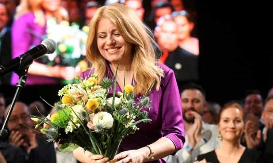 Zuzana Caputova addresses supporters after winning the Slovakian presidential election.