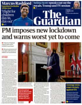 Guardian front page, Tuesday 5 January 2021