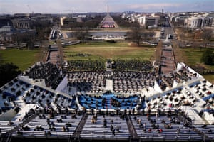 Guests and spectators attend the inauguration of Joe Biden.