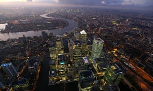 The Canary Wharf Business District And The City Of London.