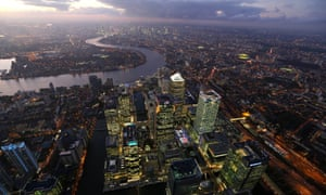 The Canary Wharf Business District And The City Of London