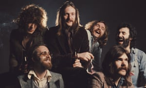 Lindisfarne in 1974, left to right: Paul Nichols, Kenny Craddock, Alan Hull, Charlie Harcourt, Ray Jackson and Tommy Duffy.