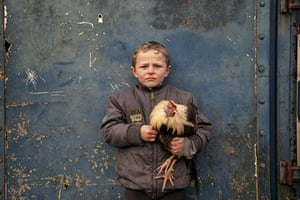 A boy holding a chicken against a blue wall