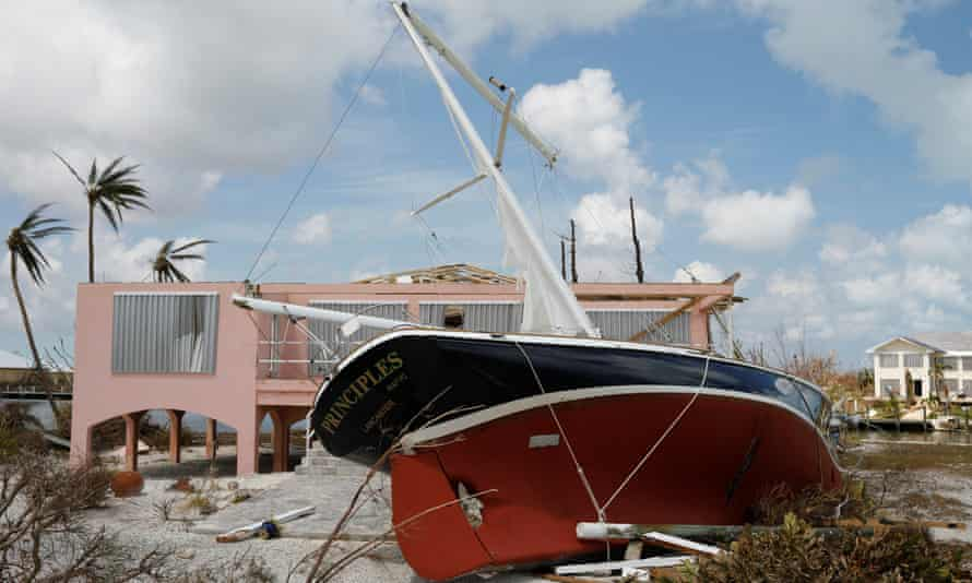 A stranded sailboat is seen after Hurricane Dorian hit the Bahamas in Treasure Cay, on 7 September
