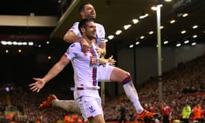 Scott Dann celebrates his winner for Crystal Palace against Liverpool with Damien Delaney.
