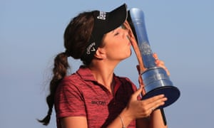 Hall celebrates winning the British Open at Royal Lytham in August, her first victory on the professional circuit.