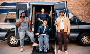 Gabourey Sidibe, Hayden Szeto, Grant Rosenmeyer and Ravi Patel outside their converted minibus in Come As You Are