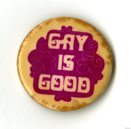 A 'Gay is Good' button from 1968 from the collection of Frank Kameny