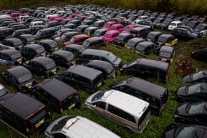 London taxis mothballed in Epping Forest due to the coronavirus lockdown.