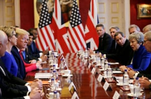 Trump and May with their entourages at the business breakfast at St. James's Palace