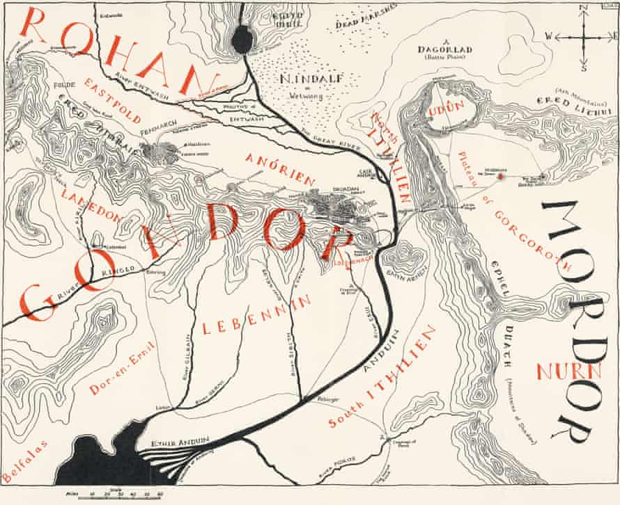 The map of Gondor and Mordor drawn by Christopher Tolkien for The Return of the King, 1955.