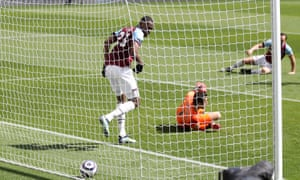 But ends up in the net after coming off the legs of Issa Diop and Newcastle have the lead.