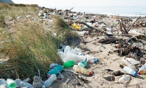 Plastic bottles and other rubbish washed up on a British beach