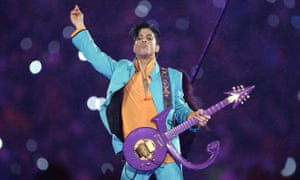 Prince performs during the half-time show of the Super Bowl in 2007.