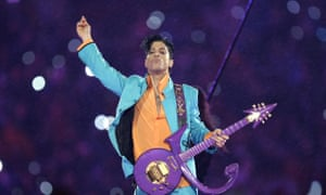 Prince performs during the halftime show at the Super Bowl XLI football in Miami
