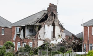 A house destroyed by a gas explosion in Sunderland