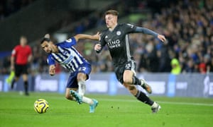 Harvey Barnes takes on Martin Montoya of Brighton.