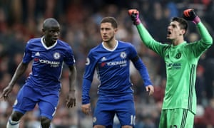 N'Golo Kanté, Eden Hazard and Thibaut Courtois, left to right, have been among Chelsea's outstanding performers this season. Photographs by PA and Getty Images. Composite Jim Powell