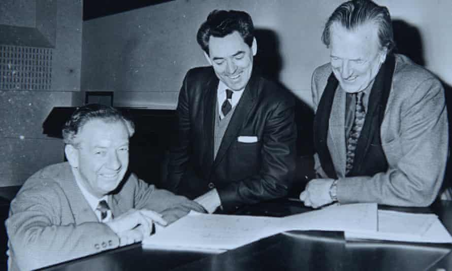 Osian Ellis, centre, with Benjamin Britten, left, and Peter Pears.