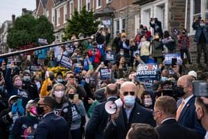 Joe Biden rallies supporters in the West Oak Lane neighbourhood of Philadelphia, Pennsylvania, as polls opened on election day