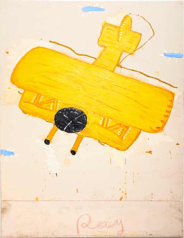 Ray's Yellow Plane (Film Notes), 2013 by Rose Wylie.
