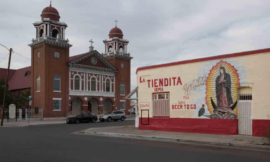 Church and store: El Paso, Texas.