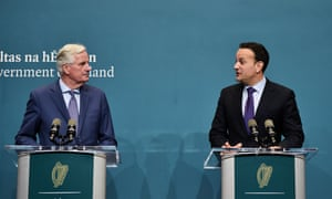 Leo Varadkar (right) and Michel Barnier making a joint press appearance in Dublin.