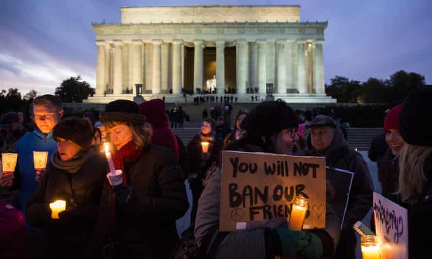 A vigil in front of the Lincoln Memorial on 4 February held in solidarity with protests against Donald Trump's travel ban policy.
