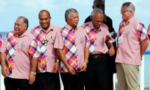 Scott Morrison talking with other leaders at the Pacific Islands Forum in Tuvalu