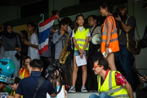 Bangkok, Thailand  Ralyn 'Lilly' Satidtanasarn, 12, a climate activist and youth leader, protests outside the environment ministry
