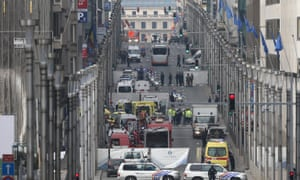 Explosion at Brussels metro station Maelbeek, Belgium, 22 March 2016.