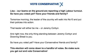 Appeal to Tory voters from Boris Johnson.