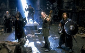 Ian McKellen, Viggo Mortensen, Orlando Bloom and Sean Bean in The Lord of the Rings: The Fellowship of the Ring (2001).