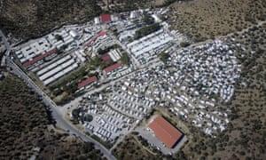 An aerial view of Moria refugee camp