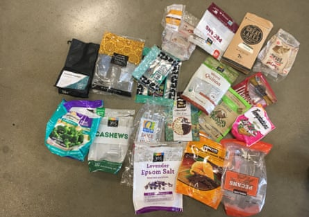 Packaging for plastic food items that cannot be accepted for recycling.