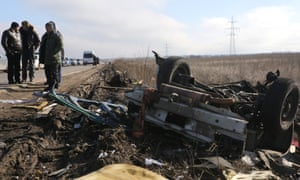 The wreckage of a minibus that hit a landmine at a checkpoint in February, killing four civilians