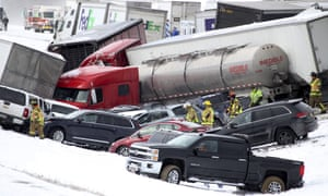 Emergency personnel work at the scene of the crash that closed Interstate 78 in central Pennsylvania.