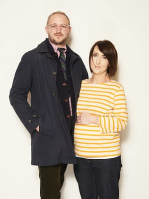 Nathanial Gatwell, 34, Teacher; and Gemma Smith, 34, Clinical PsychologistNavy coat, £129, and yellow breton top, £35