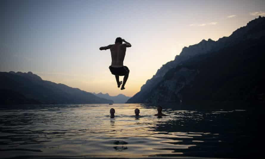 An evening swim in lake Walensee in Switzerland