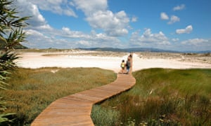 Wooden walkway across beach, Cíes islands