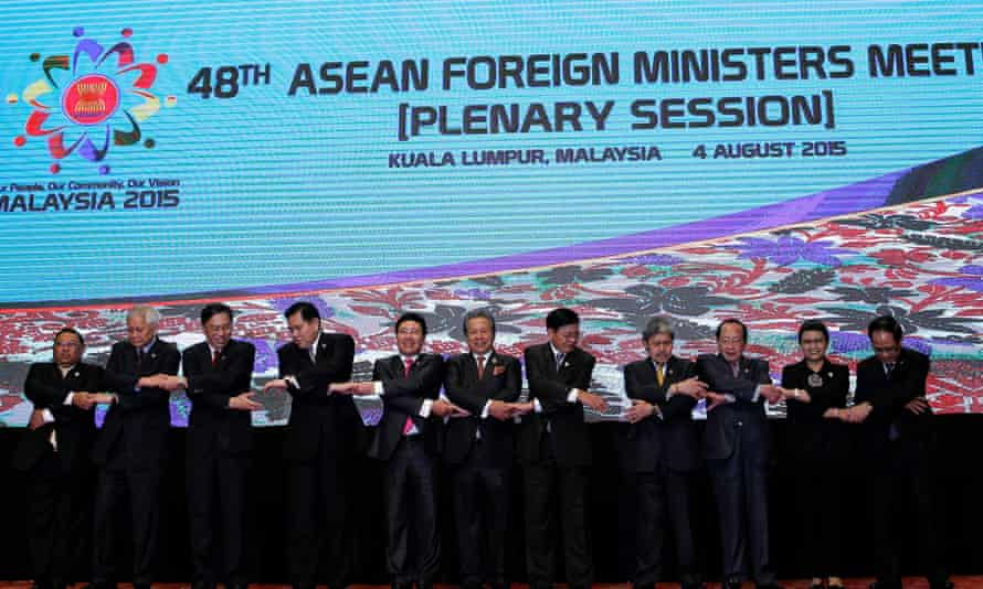 The foreign minister, U Wunna Maung Lwin, far left, attends an Asean session in Kuala Lumpur in 2015.
