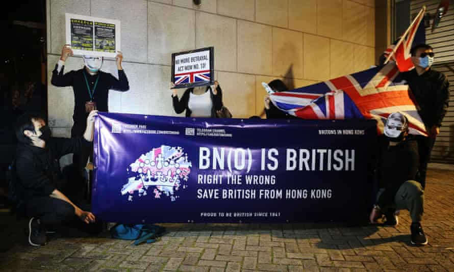 A demonstration by British National Overseas movement
