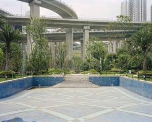 Swimming pool underneath Egongyan Bridge, Chongqing, China,2012