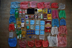 One week's worth of plastic waste, used and collected by the Shrestha family in Kathmandu, Nepal.