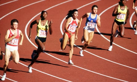 Florence Griffith Joyner runs the curve on her way to winning 200m gold in a world-record time at the 1988 Olympics