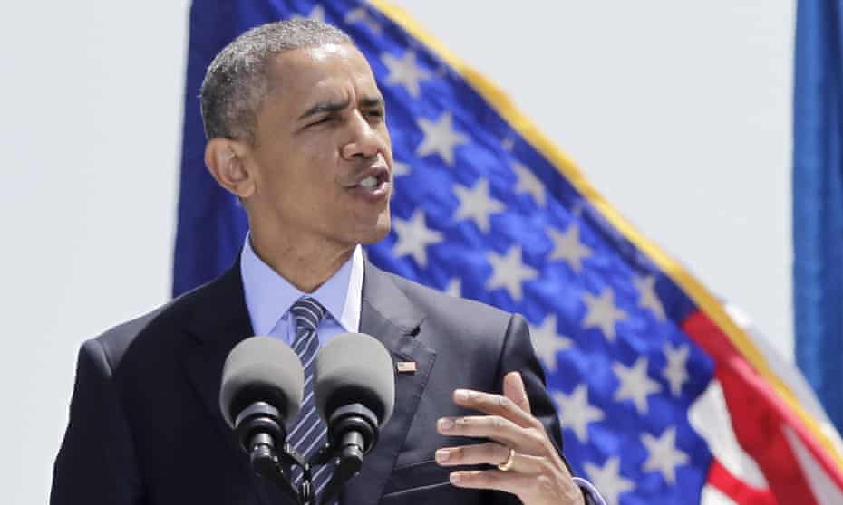 President Barack Obama warns of the dangers of climate change at the US Coast Guard Academy in New London Connecticut on 20 May 2015.