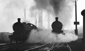 Simpler times ... steam locomotives, County Durham, 1961.