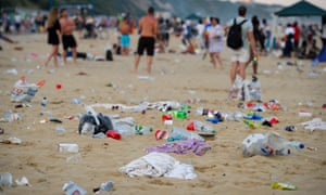 Rubbish on the beach in Bournemouth after the crowds began dispersing on Thursday