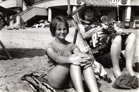 Glynnis Burleigh with her grandmother, Ethel Rhys, on the beach before John Harris planted the bomb in 1965.